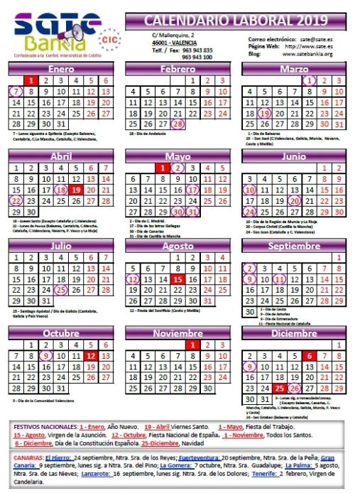 Calendario Laboral Tenerife 2019.Calendario Laboral 2019 Sate Bankia